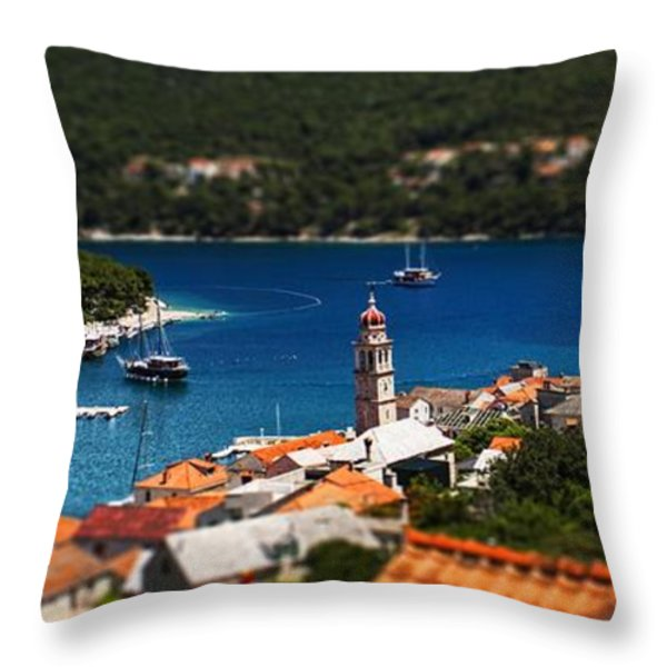 Tiny Inlet Throw Pillow by Andrew Paranavitana