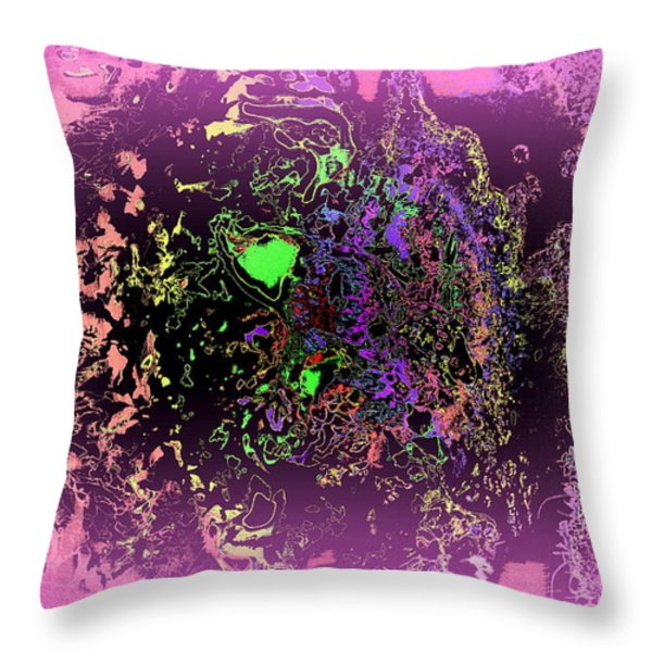 tired spider with a green heart Throw Pillow by Hilde Widerberg