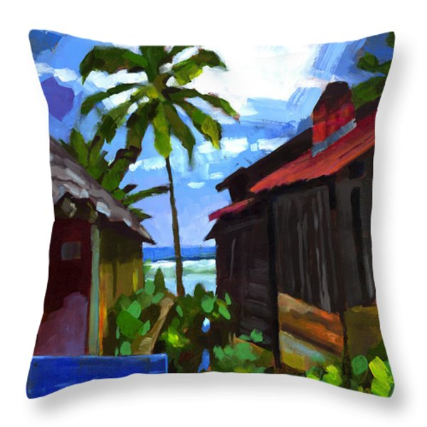 Tiririca Beach Shacks Throw Pillow by Douglas Simonson