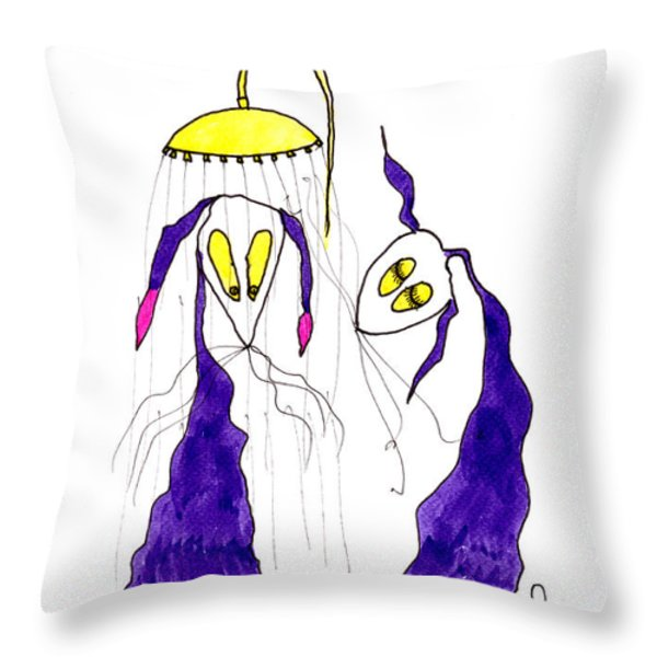 Tis Long Cold Shower Throw Pillow by Tis Art