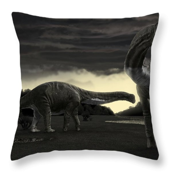 Titanosaurs In The First Storm Throw Pillow by Rodolfo Nogueira