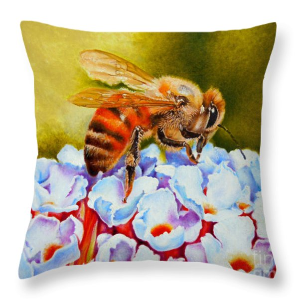 To Bee Or Not To Bee Throw Pillow by Rene Holovsky