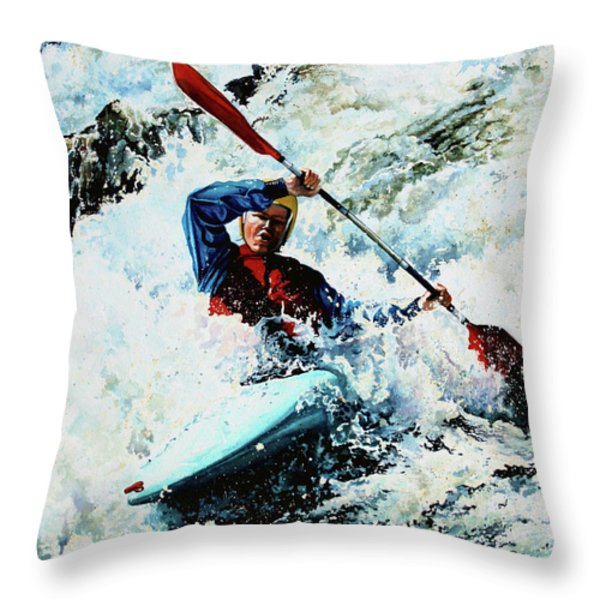 To Conquer White Water Throw Pillow by Hanne Lore Koehler