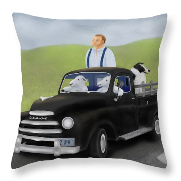 To Market With The Sheep Throw Pillow by Marlene Watson