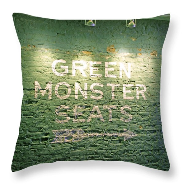 To the Green Monster Seats Throw Pillow by Barbara McDevitt