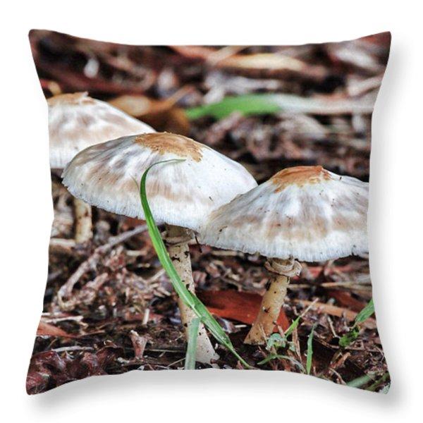 Toadstools V7 Throw Pillow by Douglas Barnard