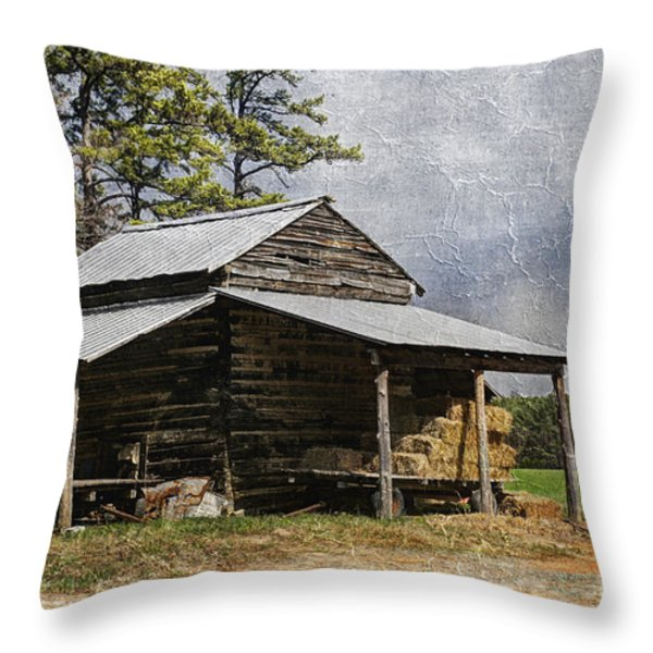Tobacco Barn In North Carolina Throw Pillow by Benanne Stiens