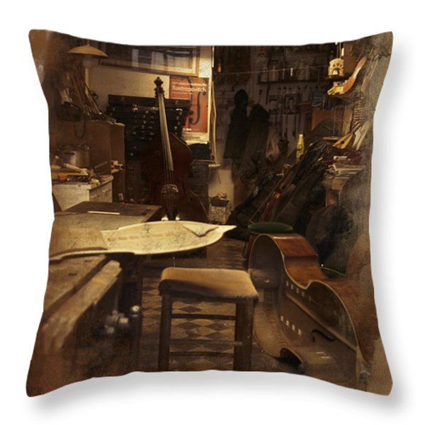 Tobacco Cello Throw Pillow by Evie Carrier