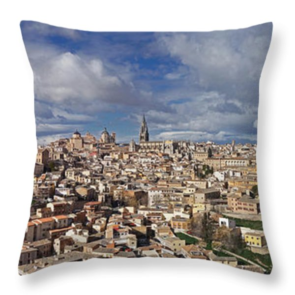 Toledo Old Town Panorama Throw Pillow by Rudi Prott