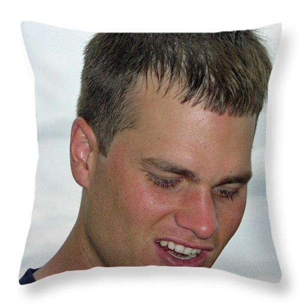 Tom Brady Throw Pillow by Mike Martin