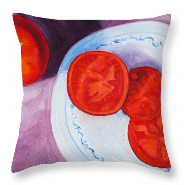 Tomato Throw Pillow by Nancy Merkle