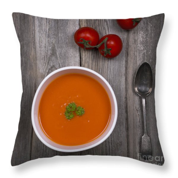 Tomato soup vintage Throw Pillow by Jane Rix