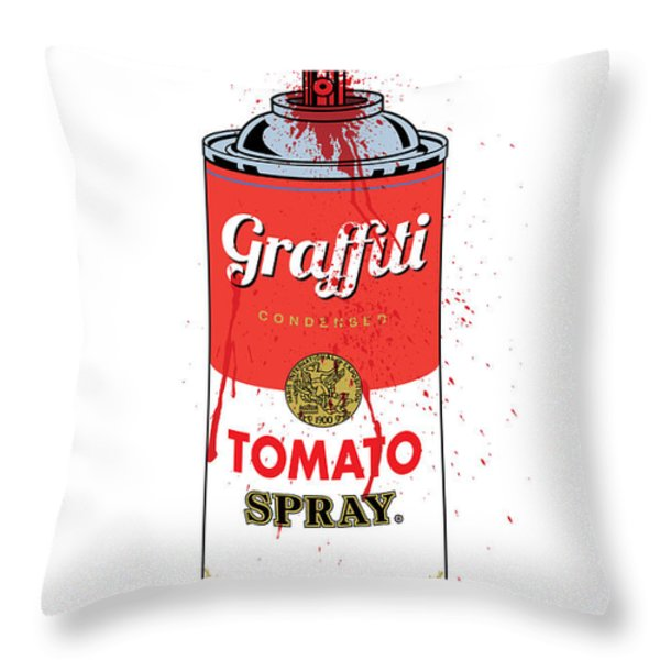 Tomato Spray Can Throw Pillow by Gary Grayson