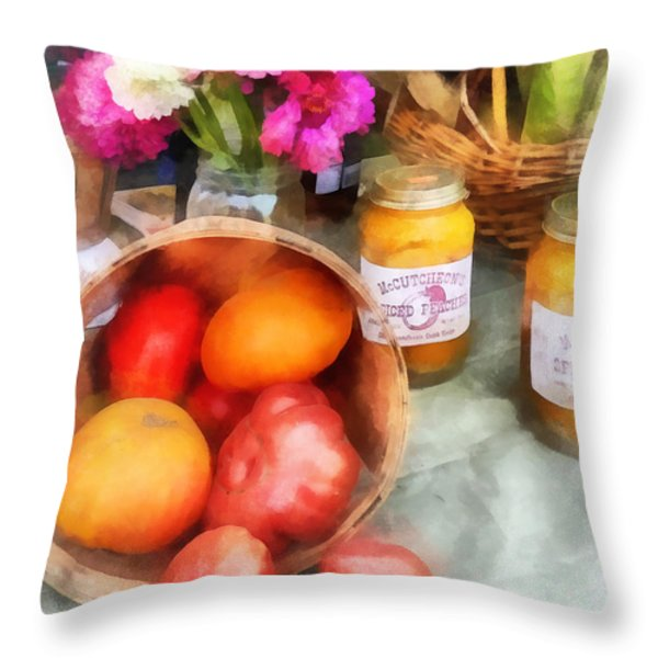 Tomatoes And Peaches Throw Pillow by Susan Savad