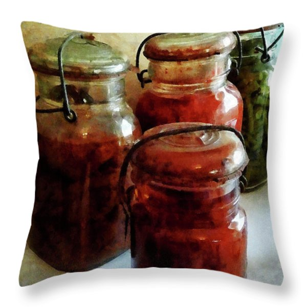 Tomatoes and String Beans in Canning Jars Throw Pillow by Susan Savad