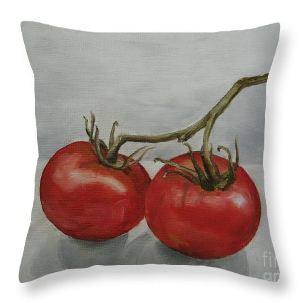 Tomatoes On Vine Throw Pillow by Jindra Noewi
