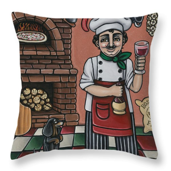 Tommys Italian Kitchen Throw Pillow by Victoria De Almeida