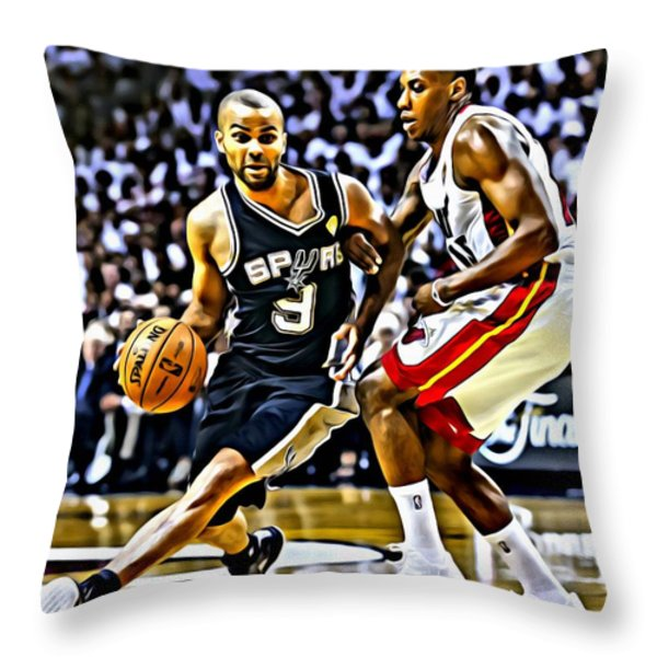 Tony Parker Painting Throw Pillow by Florian Rodarte
