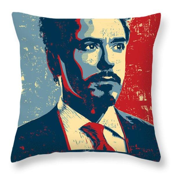 Tony Stark Throw Pillow by Caio Caldas