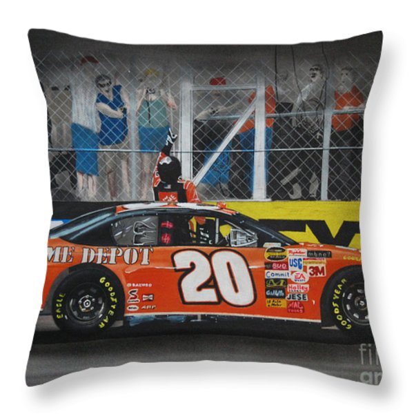 Tony Stewart Climbs For The Checkered Flag Throw Pillow by Paul Kuras