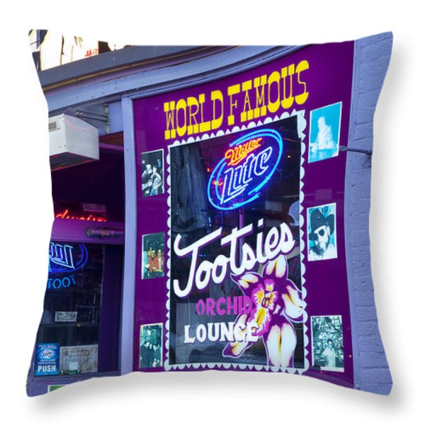Tootsies Nashville Throw Pillow by Brian Jannsen