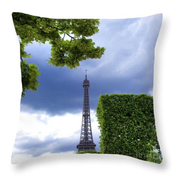 Top Of The Eiffel Tower. Paris. France. Throw Pillow by Bernard Jaubert