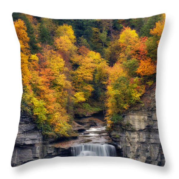 Top Of The Falls Throw Pillow by Mark Papke