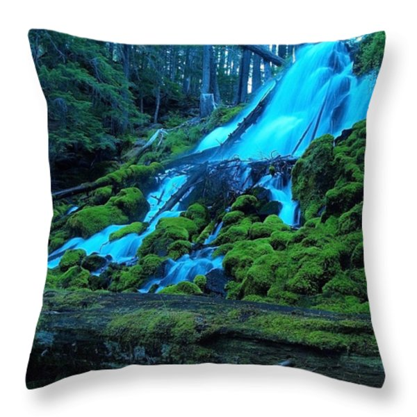 Top Part Of Clearwater Falls Throw Pillow by Teri Schuster