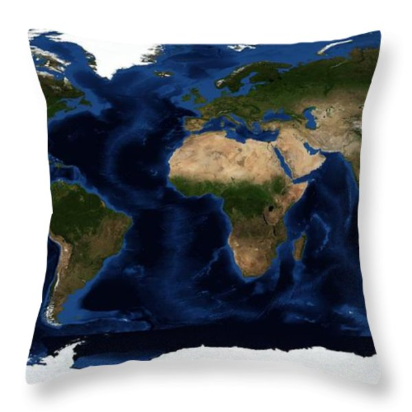 Topography Map Of The World Throw Pillow by Sebastian Musial