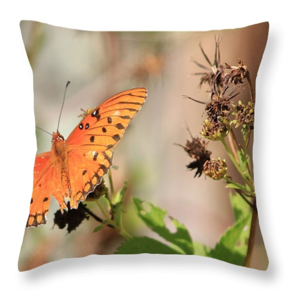 Torn Wing and Dry Flowers Throw Pillow by Cyril Maza