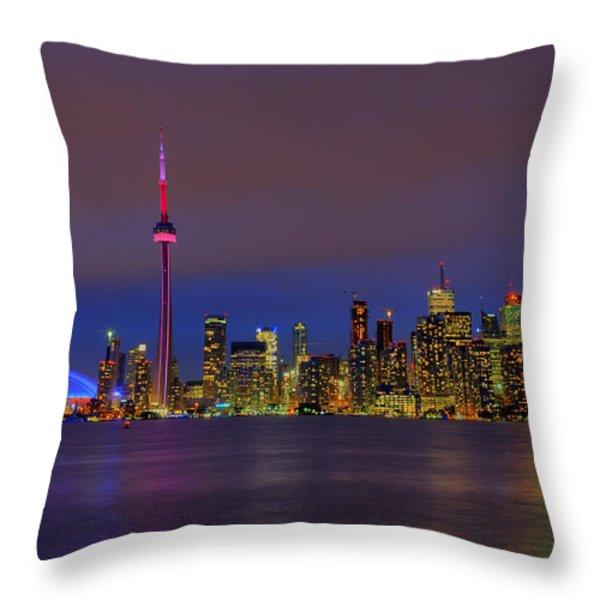 Toronto By Night... Throw Pillow by Nina Stavlund