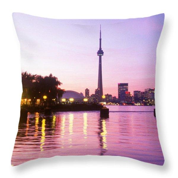 Toronto Skyline At Sunset, Toronto Throw Pillow by Peter Mintz