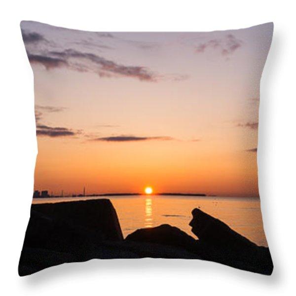 Toronto Skyline Panorama At Sunrise Throw Pillow by Georgia Mizuleva