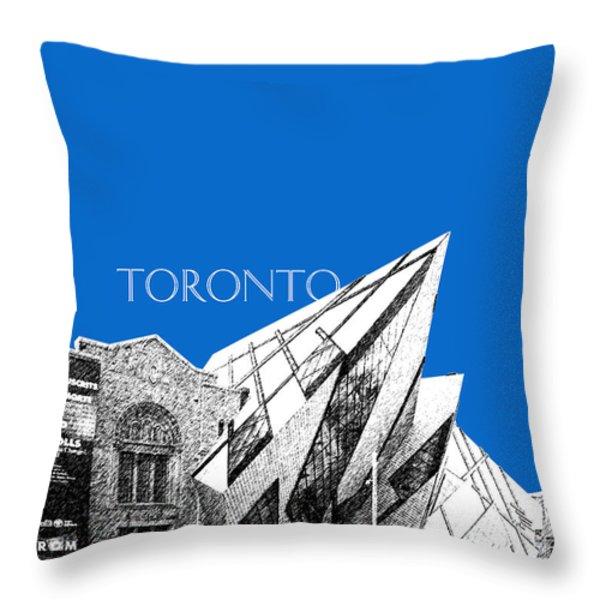 Toronto Skyline Royal Ontario Museum - Blue Throw Pillow by DB Artist