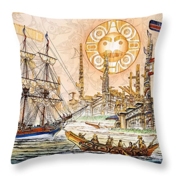 Totem Moon Throw Pillow by James Williamson