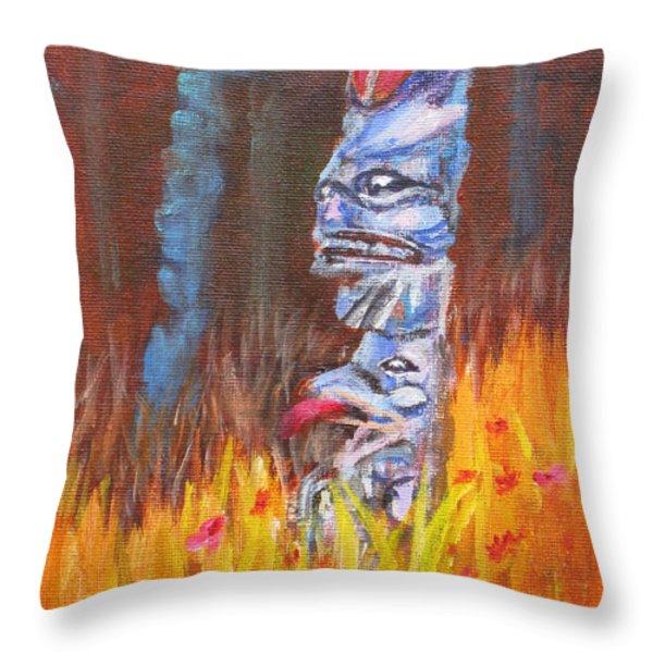 Totems Of Haida Gwaii Throw Pillow by Mohamed Hirji
