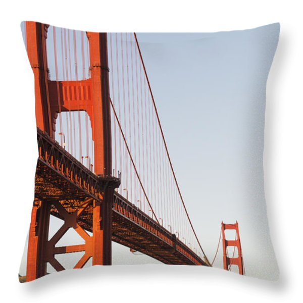 Tour Boats Cross Under Golden Gate Throw Pillow by Harry M. Walker