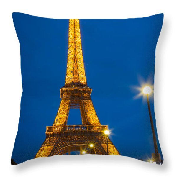 Tour Eiffel de Nuit Throw Pillow by Inge Johnsson