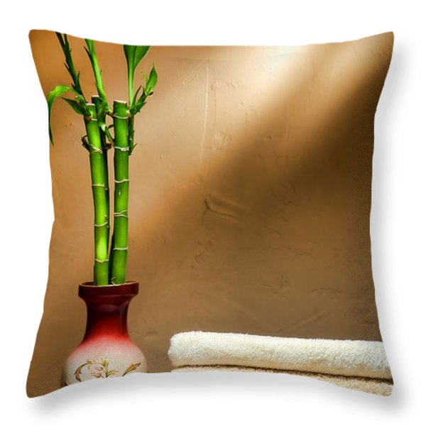 Towels and Bamboo Throw Pillow by Olivier Le Queinec