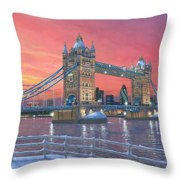 Tower Bridge After The Snow Throw Pillow by Richard Harpum