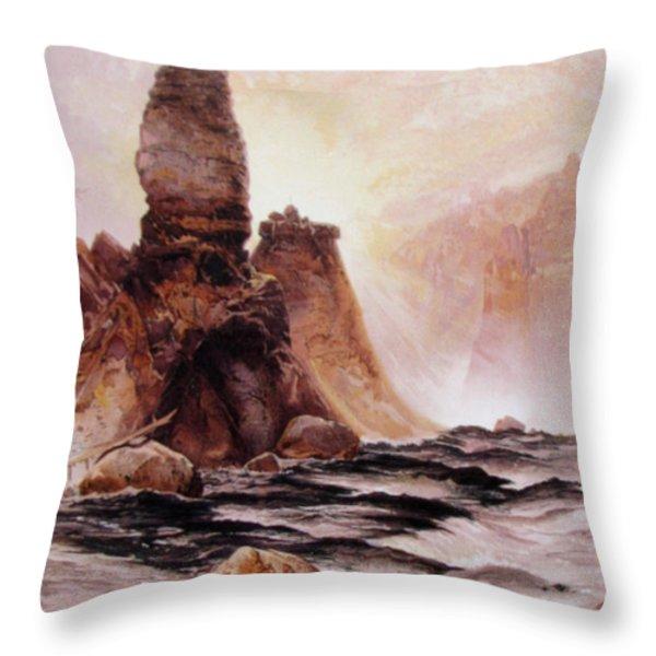 Tower Falls At Yellowstone Throw Pillow by Thomas Moran