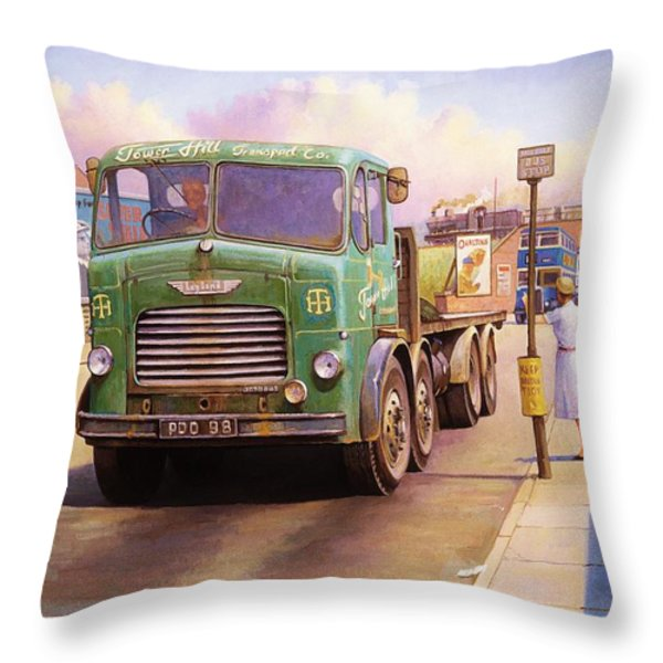 Tower Hill Transport. Throw Pillow by Mike  Jeffries