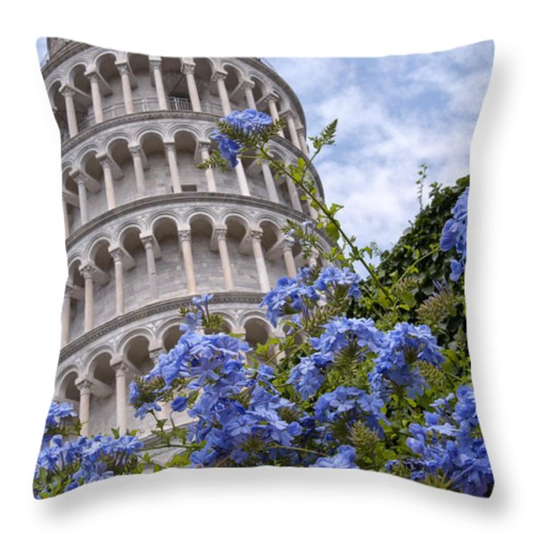 Tower Of Pisa With Blue Flowers Throw Pillow by Melany Sarafis