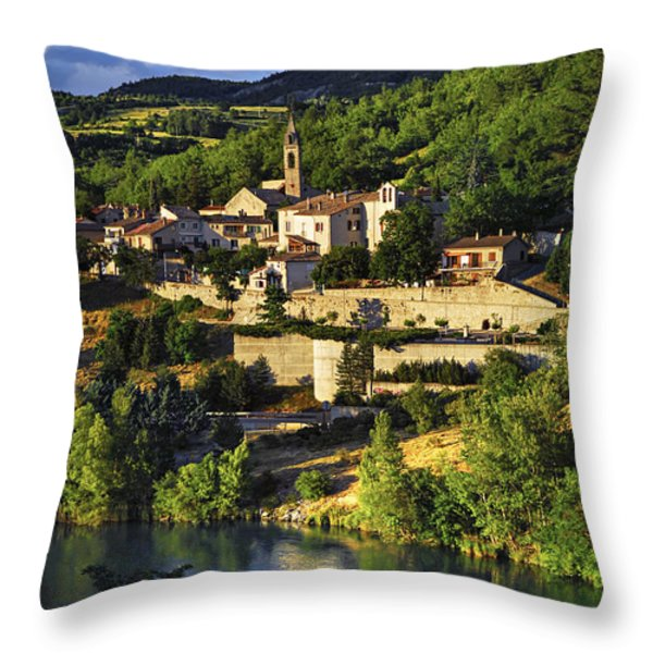 Town Of Sisteron In Provence Throw Pillow by Elena Elisseeva