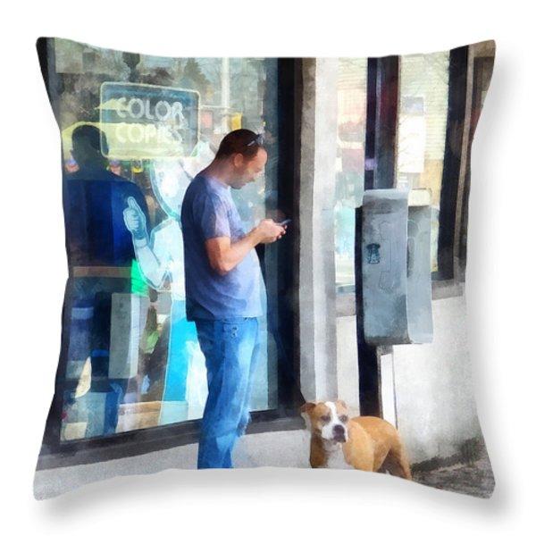 Towns - Pay Phone Throw Pillow by Susan Savad