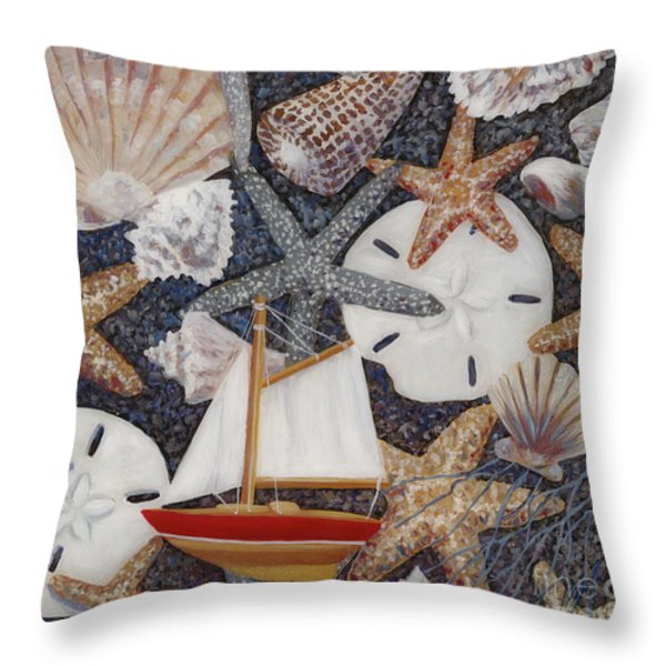 Toy Boat Throw Pillow by Danielle  Perry