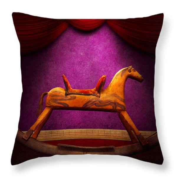 Toy - Hobby horse Throw Pillow by Mike Savad