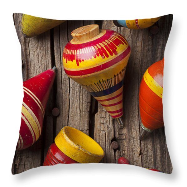 Toy Tops Throw Pillow by Garry Gay