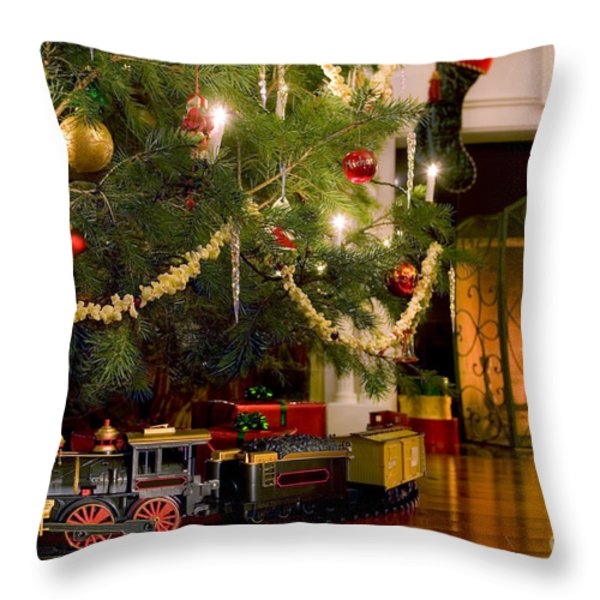 Toy Train Under The Christmas Tree Throw Pillow by Diane Diederich