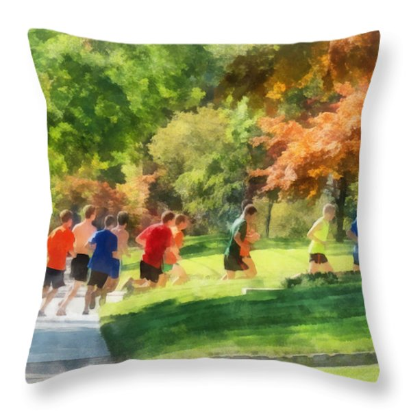 Track Team Throw Pillow by Susan Savad